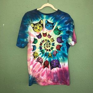 Tie Dye Festival Cat Swirl Shirt Large